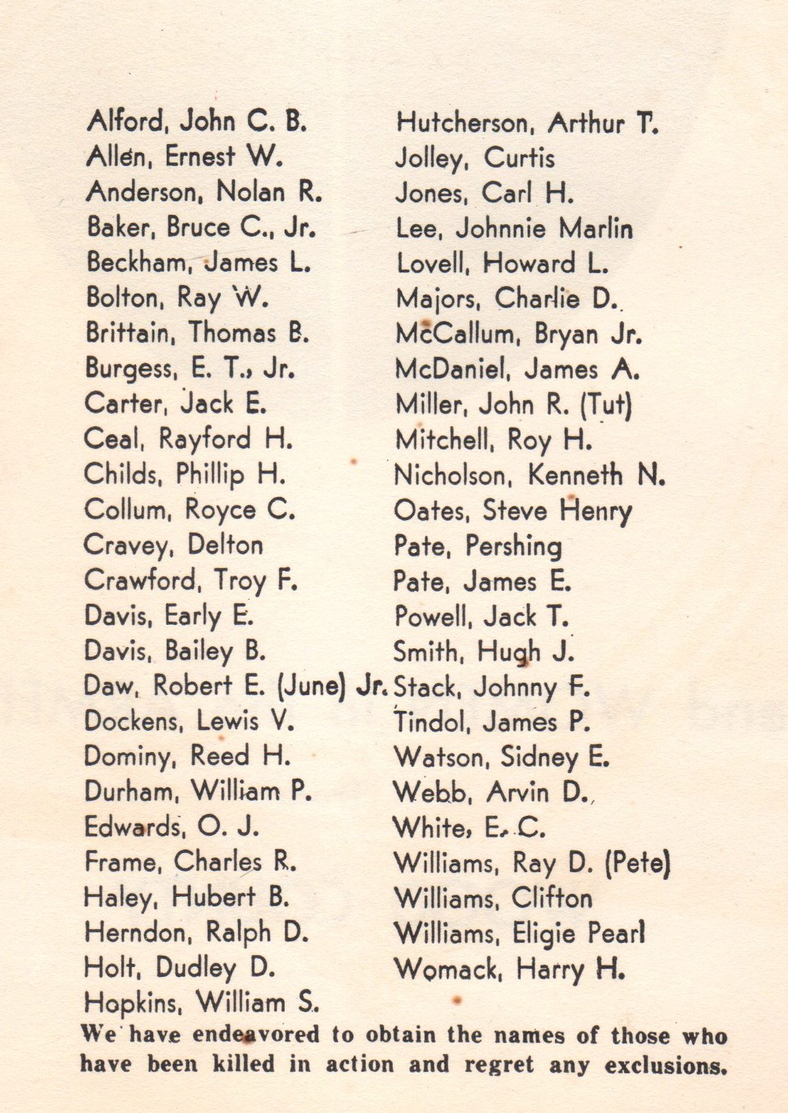 Men and women in the Armed Forces from Woods County Texas Killed in Action