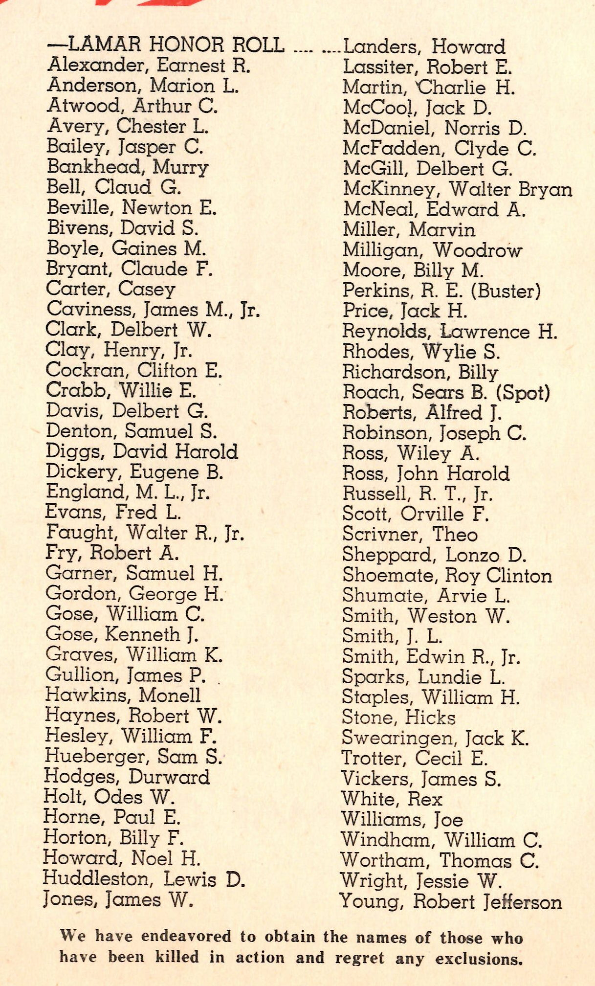Men and women in the Armed Forces from Lamar County Texas WW2 WWII World War  Killed in Action KIA
