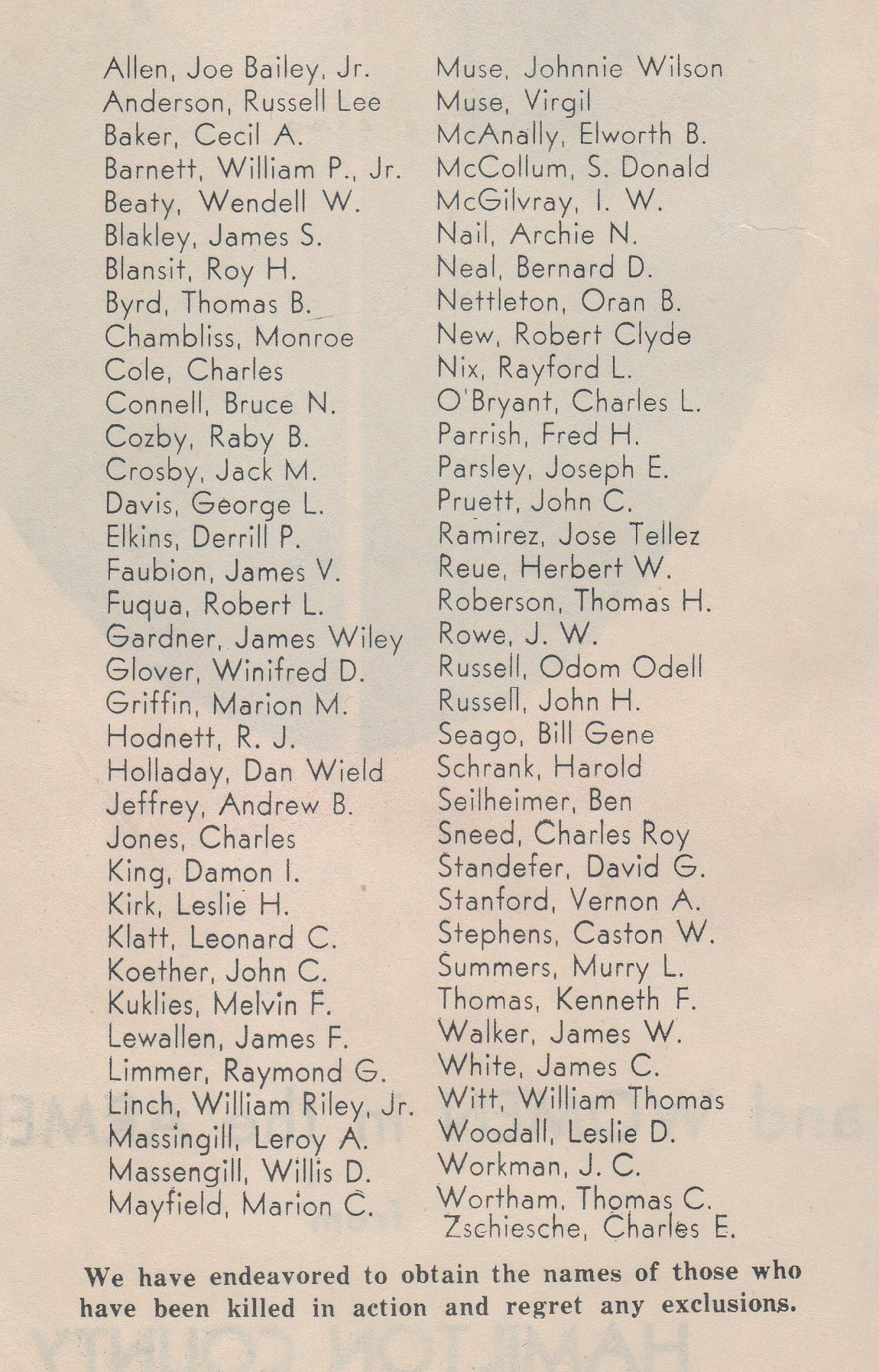 Men and women in the Armed Forces fromHamilton County Texas World War 2 II 11 WW2 WWII KIA Killed in Action